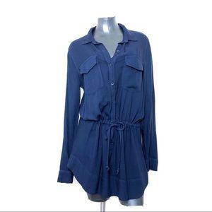 cloth & stone Navy Blue Drawstring Tunic Blouse